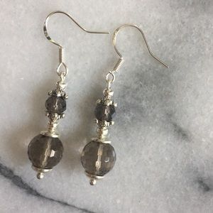Smokey topaz stone earrings sterling gorgeous pair